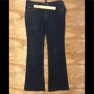 Ann Taylor loft SZ 4 modern flare dark blue jeans